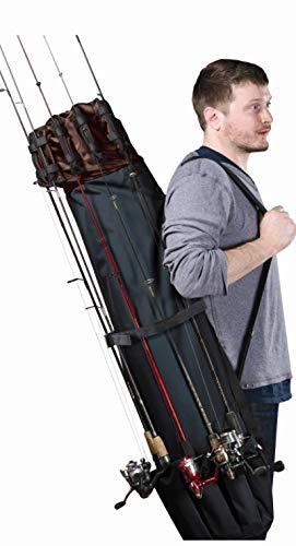 HDG Gear Fishing Rod Carrier Organizer BlackBrown  48 L Fishing Pole Case with InsideOutside Storage Shoulder Strap