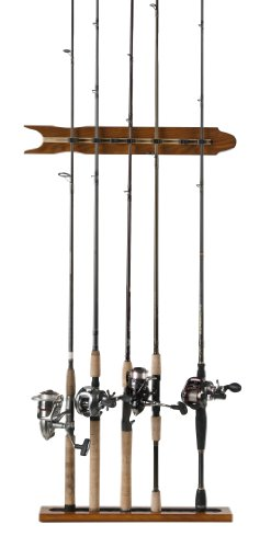 Organized Fishing Modular Vertical Wall Rack for Fishing Rod Storage Holds up to 8 Fishing Rods Oak Finish SOMWR-008