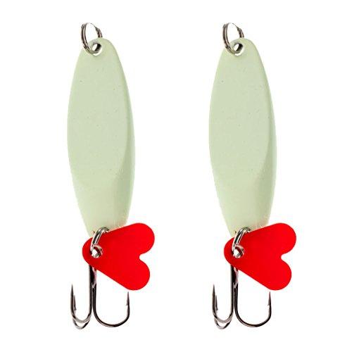 MonkeyJack Pack of 2pcs Spoons Hard Fishing Lures Treble Hooks Salmon Bass Metal Fishing Lure Baits