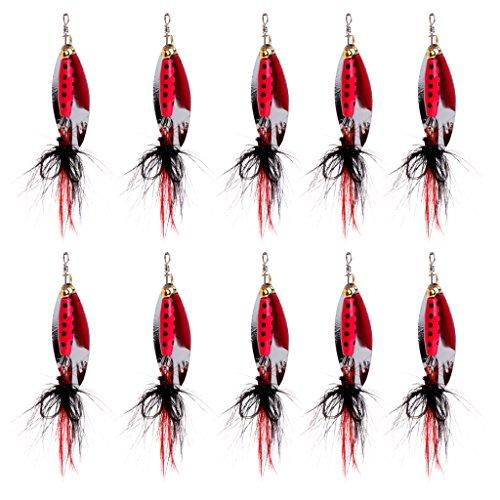 Wrisky 10pcs Metal Spoon Fishing Lures Bass Baits 4 Hook Fish Bsss Tackle 7cm 84g New