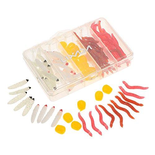 Lixada 100pcsLot Plastic Artificial Maggot Lifelike Earthworm Simulation Smell Grub Corn Protein Soft Carp Lure Baits