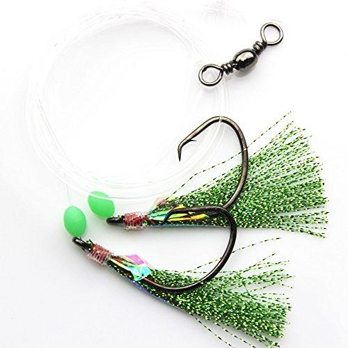 Luengo 5pcs Sabiki Fishing Rigs Fishing Flasher Lures Baits Hooks with Luminous BeadsFish SkinBarrel Swivel