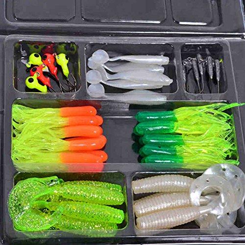 diffstyle 35pcs Fishing Tackle Lots Plastic Soft Fishing Lure  10 Lead Jig Hooks Fishing Baits Lure Set