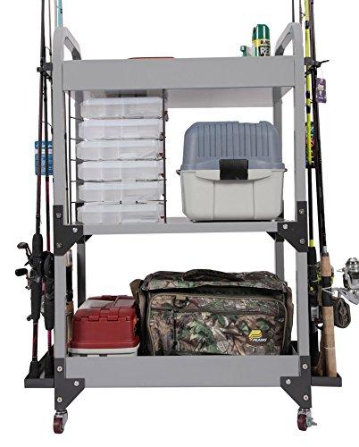 American Furniture Classics 751 model Fishing Storage Cart Metal Fishing Storage Cabinet Gray Powder-Coated Steel