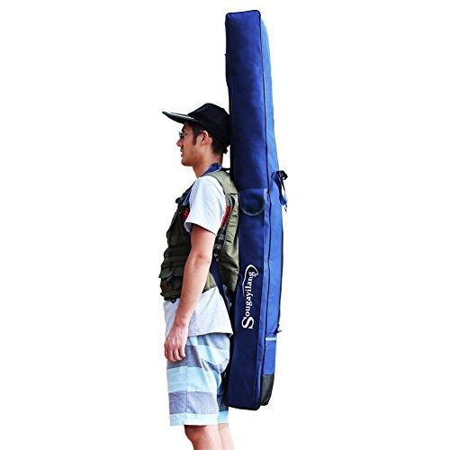 Sougayilang Folding Portable Waterproof Double-layer Bule Fishing Rod Carrier Canvas Fishing Pole Tools Storage Bag Case Fishing Gear Organizer1601614cm636355in