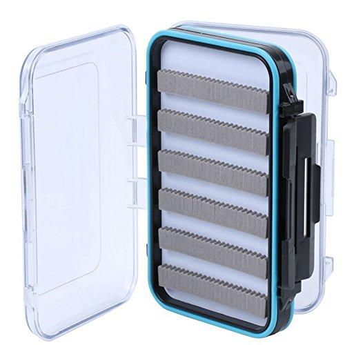 Waterproof Plastic Fly Box Slit Foam Double Side Clear Fly Fishing Tackle Box Black