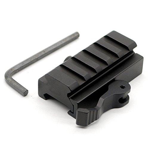 Tactical QD Detachable 20mm Picatinny Rail Half Inch Low Profile Riser 5 Slots QR Block Mount