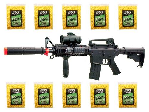 BBTac BT-M83 LPEG Full Auto Electric Power 250 FPS AEG Airsoft Gun with 50000 12g BBs 6mm Package