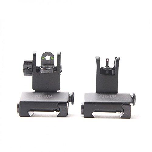 YUSHOP Fiber Optic Mini Flip Up Front Rear Sight PicatinnyWeaver Rail Mount Flat-Top Pattern