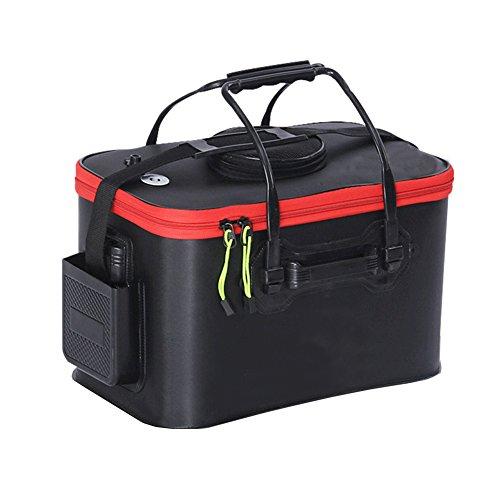 Tmat Fishing Bucket EVA Fishing Water Bucket Portable Collapsible Live Bait Bucket&Can carry Pump Kit Black