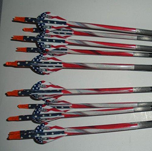 Gold Tip XT Hunter 5575400 Carbon Arrows wBlazer Vanes Flag Wraps 1Dz