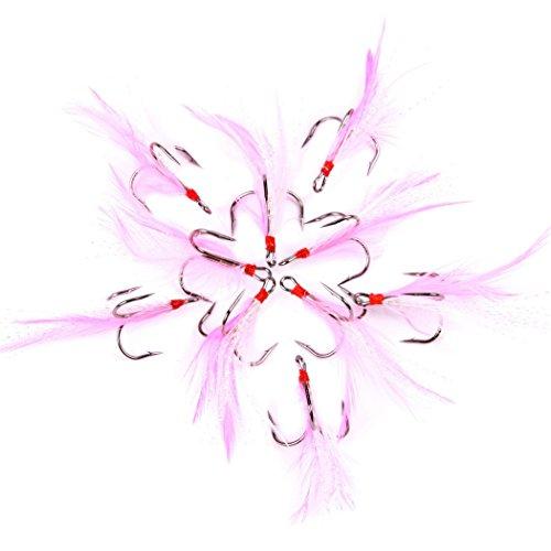 Aorace 100pcslot 2-8 Black Treble Hook Pink Feather Fishing Hooks For Minnow Fishing Lures Crankbaits Fishing Tackle Hooks