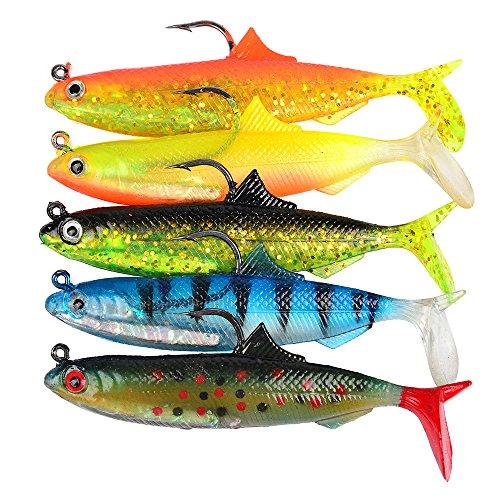 Fishing Baits5 Pcs YUIOP 105 cm Artificial Fish Fishing Lure Saltwater Lifelike Fake Baits Fishing Tackle Hooks