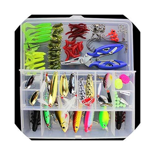 Fishing-Tackle-Boxes101Pcs Lure Kit Set Spinner Soft Hard Spoon Crank Baits Fishing Hooks Fishing Tools Tackle Box