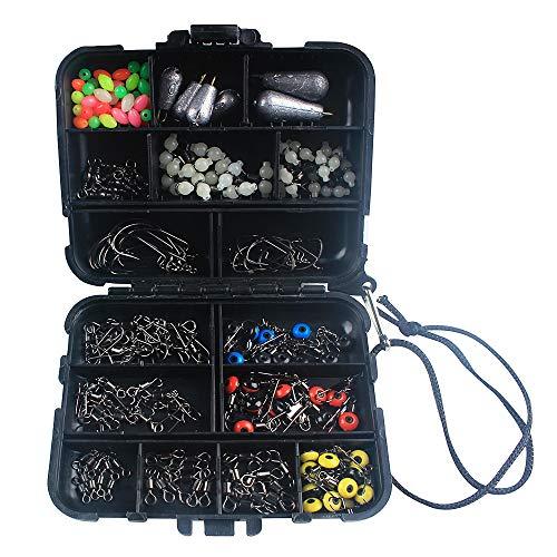 Lossky 177Pcs Fishing Accessories Kit Crank Hooks Sinker Weights Swivels Snaps Connectors Beads Fishing Tackle Box Set